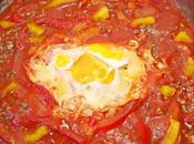 Shakshuka poached eggs tomato sauce