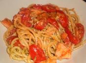 Spaghetti salmone affumicato, pomodorini pesto