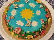 Torta dipinta decorata fiori farfalle