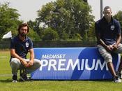 Mario Balotelli Andrea Pirlo testimonial della nuova campagna pubblicitaria Mediaset Premium luglio)