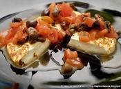 Ahimè ferie finite ritorna cucinare formaggio fresco primo sale alla piastra pomodori, capperi Pantelleria, olive taggiasche timo