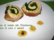 Lonza maiale allo chardonnay ripiena uova spinaci