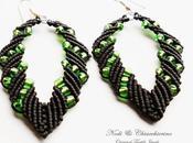 Green Leaf orecchini macramè micromacramè earrings