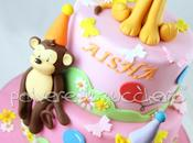 Torta compleanno bimba: animali della savana leone, giraffa scimmia