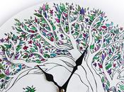 Orologio parete dipinto mano Handpainted wall clock