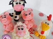 cake topper animali della fattoria
