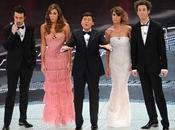 Sanremo 2011: Finale Canalis Giorgio Armani Privè, Rodriguez Christian Dior.