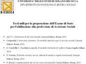 Assistenti sociali: testi utili preparazione dell'esame stato, cura Corso Servizio sociale della Università Milano Bicocca, 2014