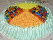 Torta bicolore Smarties ciuffetti panna