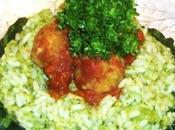 Riso broccoli polpettine sugo pomodoro