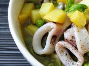 Zuppa calamari, patate piselli: comfort food