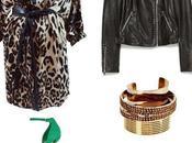 Look Valentino Abito leopardato sandali verdi