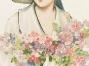 Stampe antiche: Donna fiori