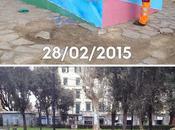 Retake pulisce ridipinge tutta Piazza Roma, dopo vandali vigliacchi deturpano tutto. quando arriva l'Isis?