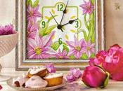 Schema orologio cucina gigli, punto croce