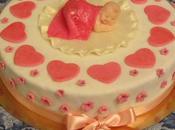 Torta nascita cuori sopra dentro, surprise inside cake