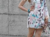 Outfit: asymmetric printed dress
