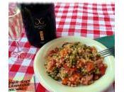 Fregola sarda peperoni, piselli speck, ricetta menu abbinato