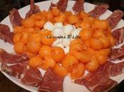 Antipasti: Prosciutto, melone mozzarelline