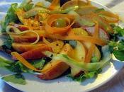 Insalata pesche arance agretto lampone, gnocchi patate sugo dolce pomodoro