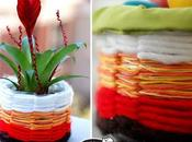 Bellissimi cestini fatti bottiglia plastica lana colorata