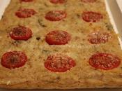 Focaccia pane raffermo formaggio, olive pomodorini