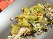Filetti ombrina forno carciofi alla maggiorana pinoli