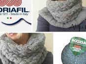 Scaldacollo ferri Intrecci Coste Scozia Adriafil, spiegazioni schema Chunky cowl knitted with yarn free pattern