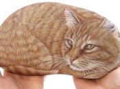 Sassi dipinti gatti Ritratto Yuri