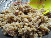 Farrotto alla porchetta, rosmarino melanzane perline