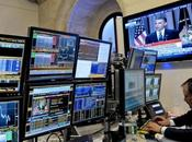 monitor displays live broadcast President Barack Obama speaking about financial regulatory reform trader works floor York Stock Exchange York, U.S., Thursday, April 2010. called industr...
