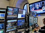 monitor displays live broadcast President Barack Obama speaking about financial regulatory reform trader works floor York Stock Exchange York, U.S., Thursday, April 2010. called industr...