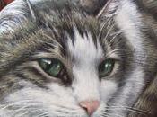 Gatti dipinti pietra Ritratto Mila