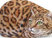 Gatto Bengala dipinto pietra