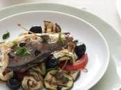 Nasellini forno verdure grigliate all'origano fresco, cucunci olive nere