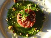 Tartare tonno, pomodorini secchi olive taggiasche crema zucchine limone pistacchi