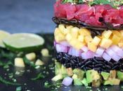 Tartare tonno riso venere, frutta esotica salsa sesamo