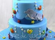 Torta tema mare piani: fondale marino balena, delfini, squalo pesci pasta zucchero