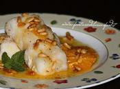 Filetti merluzzo glassati all'arancia caramellata pinoli tostati