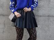 Outfit: round leather skirt blue sweater maglione abbinato gonna ruota pelle nera