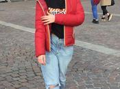 Wonder Who? Piumino rosso look street casual mezze stagioni