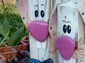 Coniglietti Pasquali legno riciclo