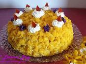 Torta Mimosa alla Crema Mascarpone Meringato Pesche sciroppate