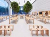 Apple cambiando design propri Store. Alberi, display promo nuovi arredi legno