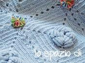 Copertina neonato piastrelle crochet fiore rilievo DOLCEZZA