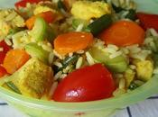 Insalata riso tacchino alla curcuma, fagiolini, carote, pomodorini zucchine