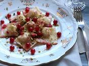 Ravioli baccalà ribes rosso pistacchio