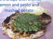 Recipe Pork Chop with Thyme, Lemon Pesto, Pesto Sauce, Mashed Potato