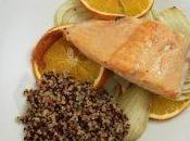 Salmone forno letto finocchi arancia quinoa