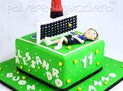 Torta decorata campo tennis compleanno bimbo, tennisti pasta zucchero tridimensionali